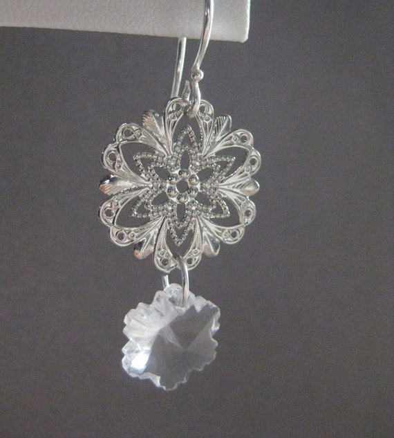 Dangling Silver Filigree Earrings with Glass Snowflakes and Sterling Silver Hooks, E 200