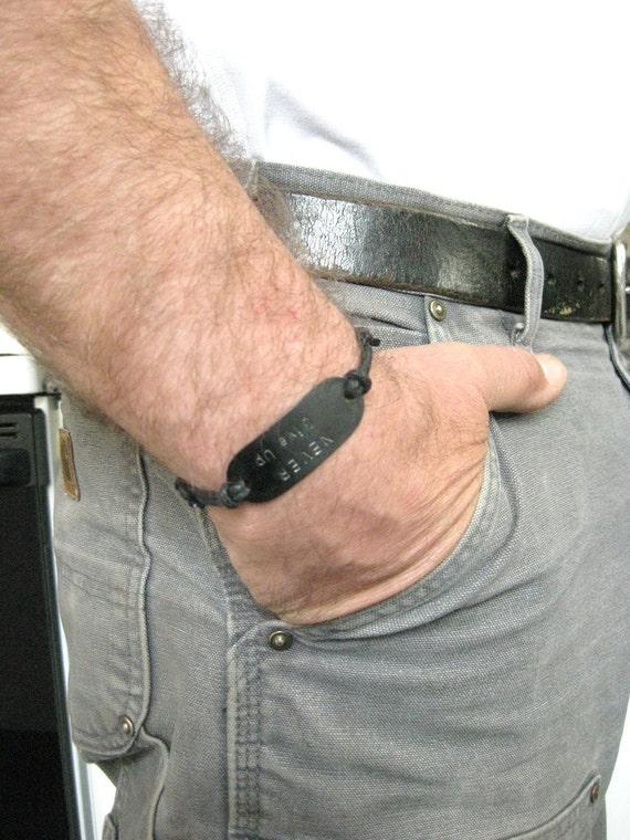 Men's Bracelet, 'NEVER Give Up', Inspirational, Encouraging, Affirming, Positive Thinking, Adjustable Black cord, MB 105