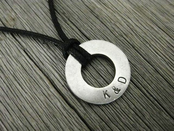 Men's Necklace with 2 custom initials, Stamped Stainless Steel with BLACK cord, MN 116