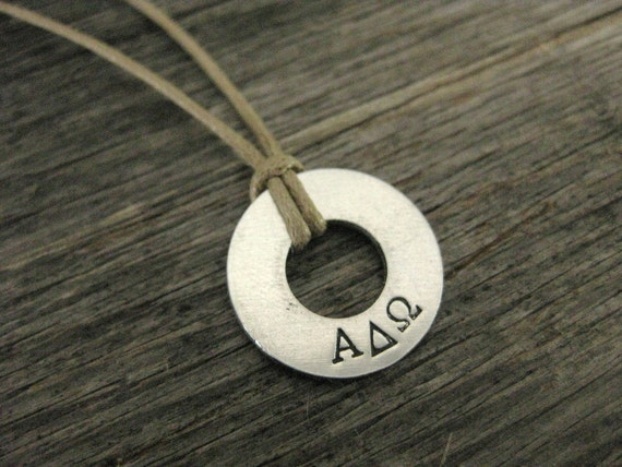 Necklace with Greek letters custom stamped, great for Fraternities or Sororities, NC 1028