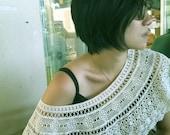 Vintage beige lace shawl/ scarf/ collar