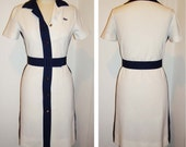 Vintage 1960's Chemise Lacoste Knit Pique Mod Scooter\/Tennis Dress White With Navy Accents