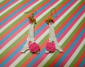 Run Away. Kill Me Tonight. - Eiffel Tower earrings in White and Pink