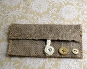 Eco Chic Change Bag reclaimed burlap and floral fabric with vintage buttons FREE US Shipping