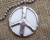 Round white and silver stained glass peace pendant