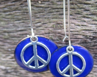 Bright blue enamel and silver peace sign circle dangle earrings