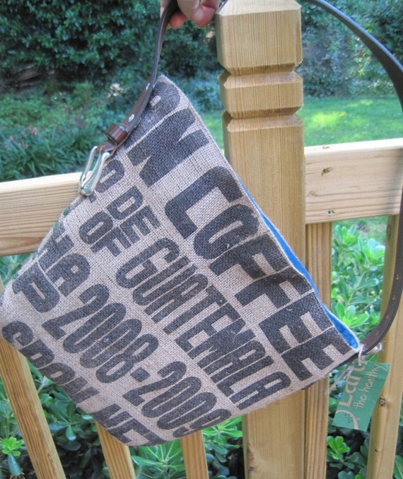 Unique recycled coffee bean bag and belt purse