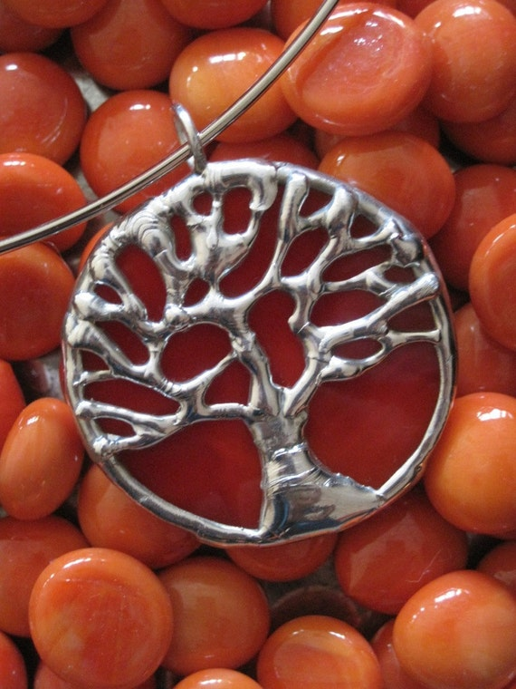 Small orange and silver stained glass tree of life pendant