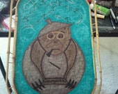 Drunk coconut monkey bamboo serving tray great for tiki bar