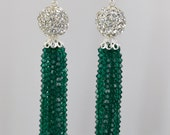 Emerald Crystal Encrusted Sterling Silver Tassel Earring