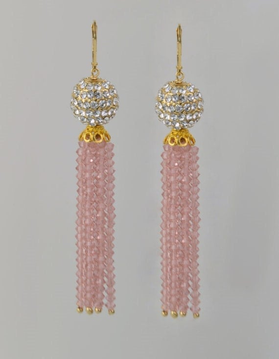 Vintage Rose Crystal Encrusted 14K Gold filled Tassel Earring