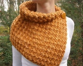 Crochet Cowl Scarf Neckwarmer in TANGERINE MIST with Buttons