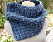 Crochet Cowl Neckwarmer Scarf in DUSTY BLUE with Buttons