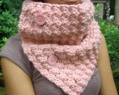 Crochet Cowl Neckwarmer Scarf in Pink with Cotton Buttons