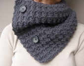 Crochet Cowl Scarf Neckwarmer in CHARCOAL GREY with Buttons