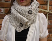 Crochet Cowl Scarf Neckwarmer in Speckled Aran with Buttons
