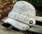 Adult Newsboy Hat in Speckled Aran