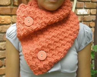 Crochet Cowl Scarf Neckwarmer in Coral with Buttons