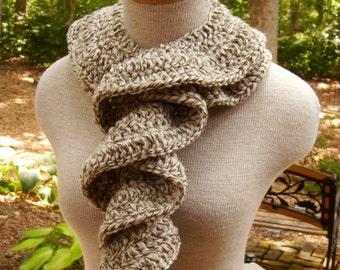 Crochet Scarf - Ruffle Scarf - Cascade of Ruffles Scarf in Oak Tweed Fishermans Wool