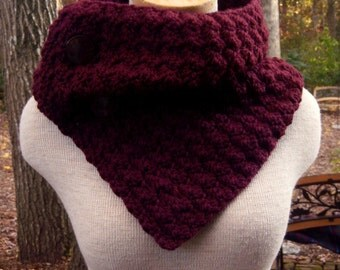 Crochet Cowl Scarf Neckwarmer in Burgundy with Buttons