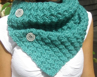 Crochet Cowl Neckwarmer Scarf in TEAL with Buttons - Bamboo Wool Blend