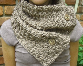 Crochet Cowl Neckwarmer Scarf in Cocoa with Buttons