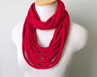 Jersey Tee Circle Scarf - Red