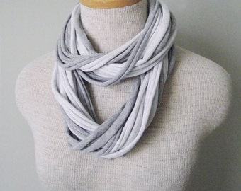 Jersey Tee Circle Scarf - Two Tone Grey - Gray Heather