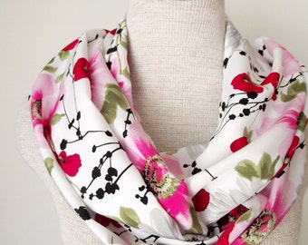 Infinity Scarf - Poppies Daises and Dogwoods Floral Loop Infinity Skinny Scarf