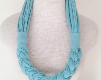 Half Braided Jersey Tee Scarf - Turquoise