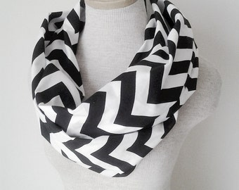 READY TO SHIP - Chevron Infinity Scarf - Jersey Knit - Black and White