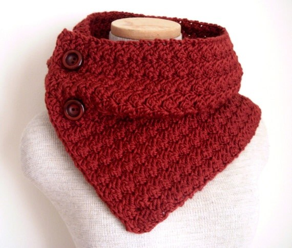Crochet Cowl Scarf Neckwarmer in Paprika with Buttons