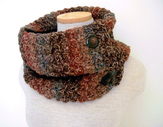Crochet Cowl Scarf Neckwarmer in Wooded Trail with Buttons