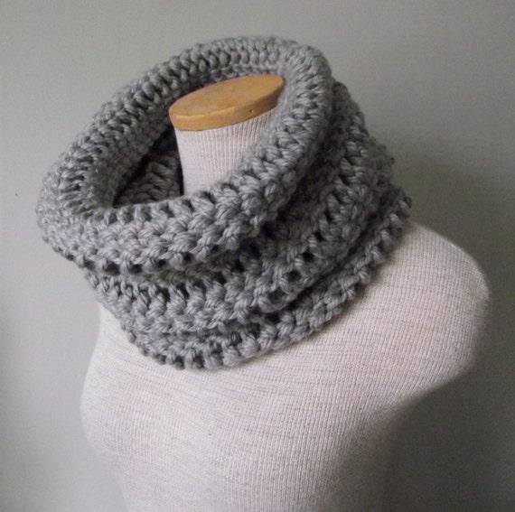 Crochet Cowl in Dallas Grey - Grey Heather - Silver Gray - Ash