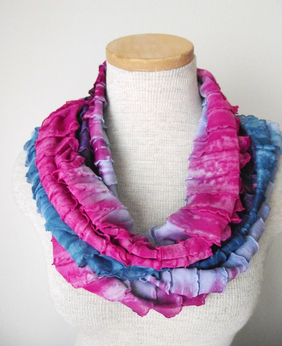 Ruffle Loop Infinity Skinny Scarf in Teal Fuschia and Light Blue Tied Dyed - LAST ONE