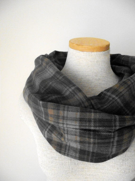 Infinity Scarf Plaid Flannel Cotton Cowl in Brown Black and Grey - Unisex