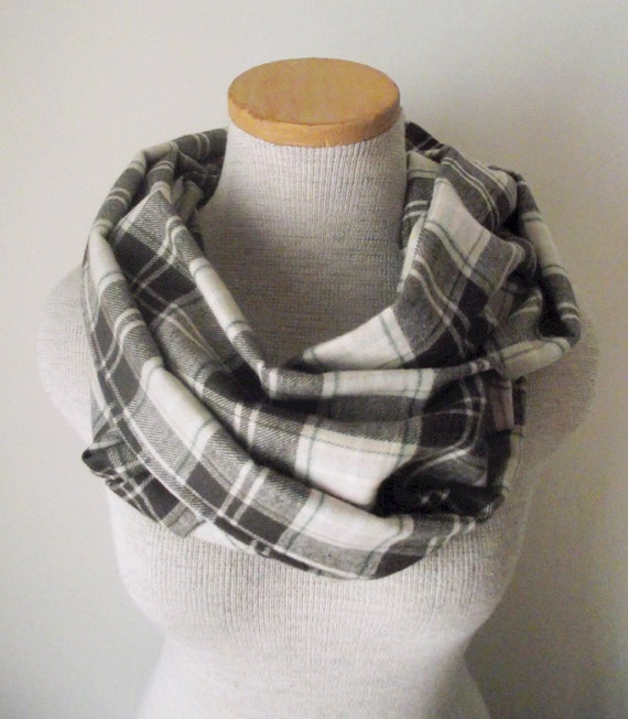 Infinity Scarf Plaid Flannel Cotton Cowl in Cocoa Mint - Unisex