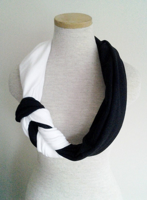 Black and White Half Braided Knot Jersey Tee Scarf