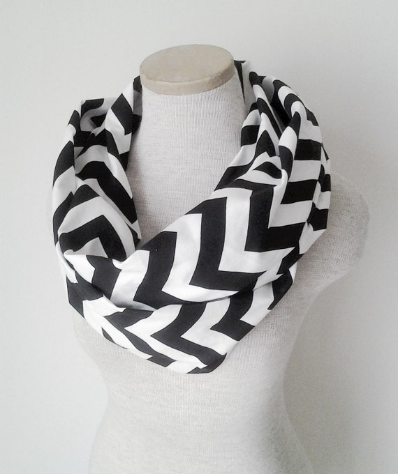 Chevron Infinity Scarf - Jersey Knit - Black and White