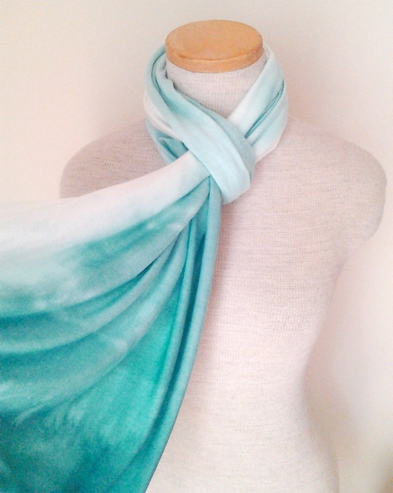 Dip Dyed Ombre Jersey Scarf - Teal