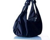 Shoulder bag , slouch bag , hobo bag  in dark blue cotton canvas - Kallia bag