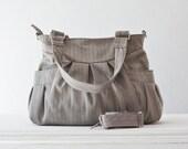 Shoulder bag , messenger bag , crossbody bag in cotton herringbone grey and blue - Elessa bag