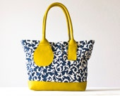 Kallisto bag in floral cotton and Yellow leather