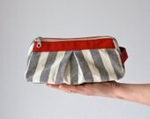 Cosmetic case with stripe cotton canvas and  Red leather