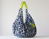 RESERVED LISTING Kallia - Shoulder bag in cotton blue floral and lime yellow  leather