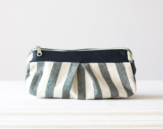 Cosmetic case with stripe cotton canvas and  dark blue leather