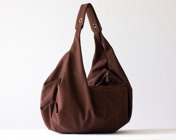 Brown shoulder bag , hobo bag , slouch bag in cotton canvas  - Kallia bag