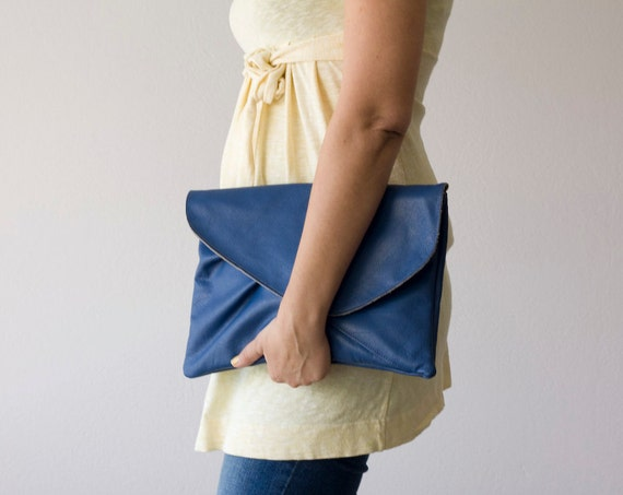 Leather oversized clutch in marine Blue
