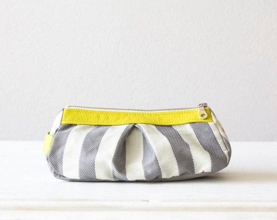 cosmetic case  , make up bag in Stripe cotton grey and Yellow leather  , Cyber Monday Etsy