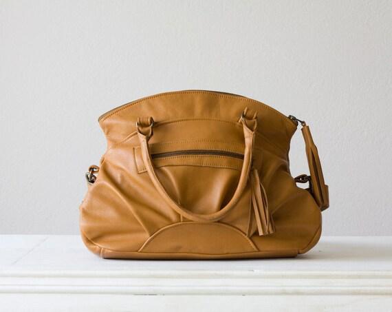 Leather handbag , leather messenger bag , leather shoulder bag in light Brown - Arethusa bag